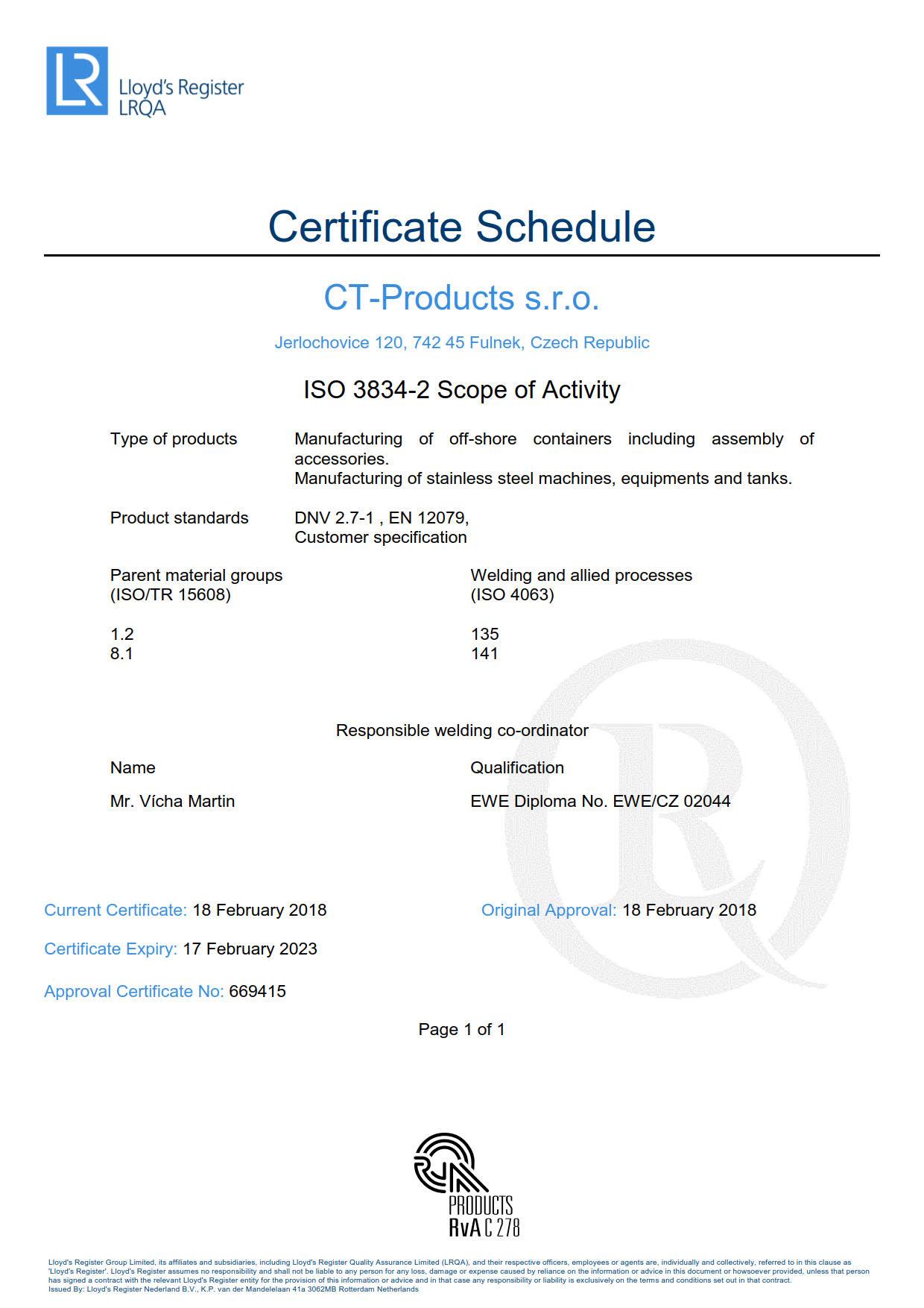 Certificate schedule