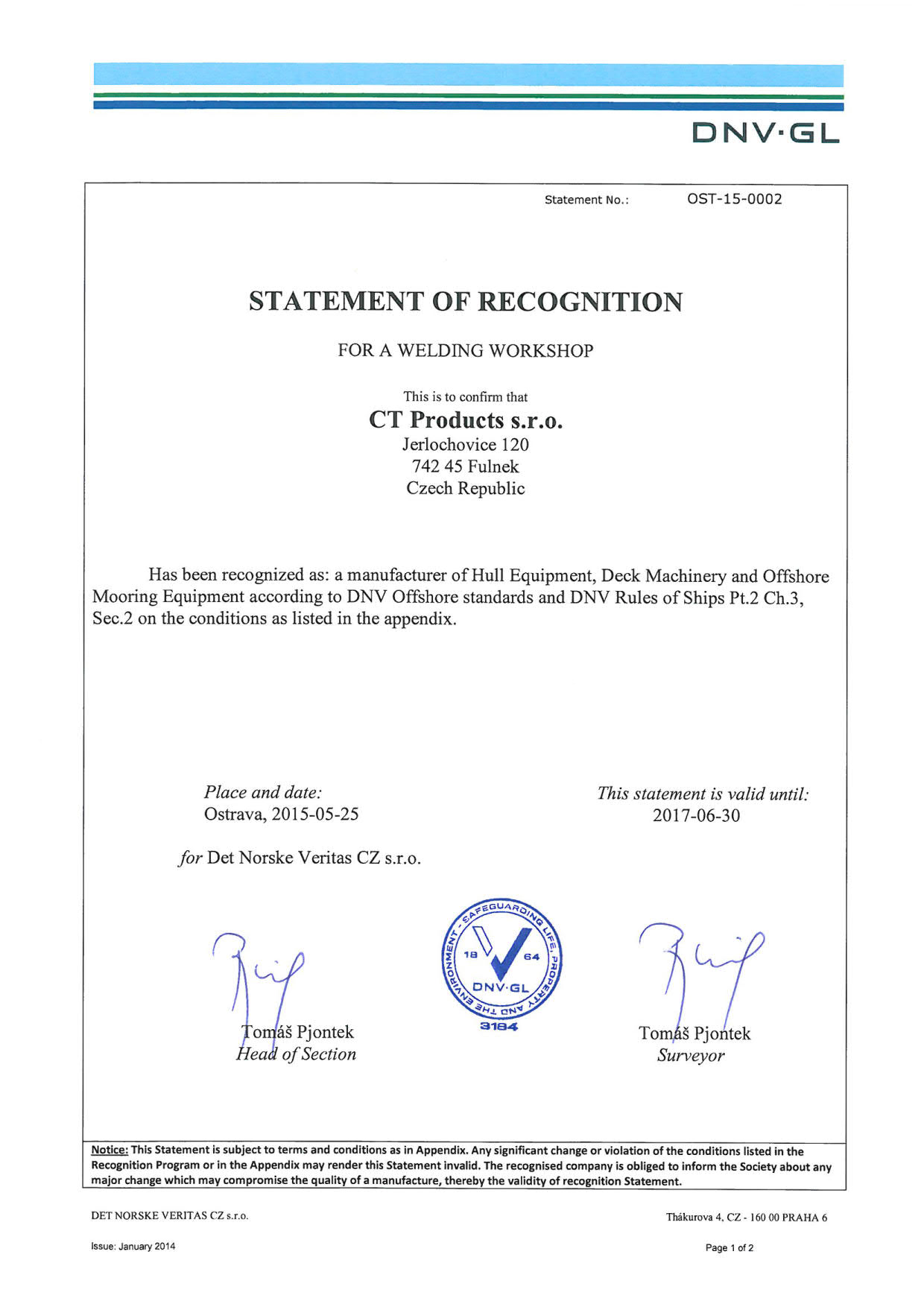 Statement Of Recognition