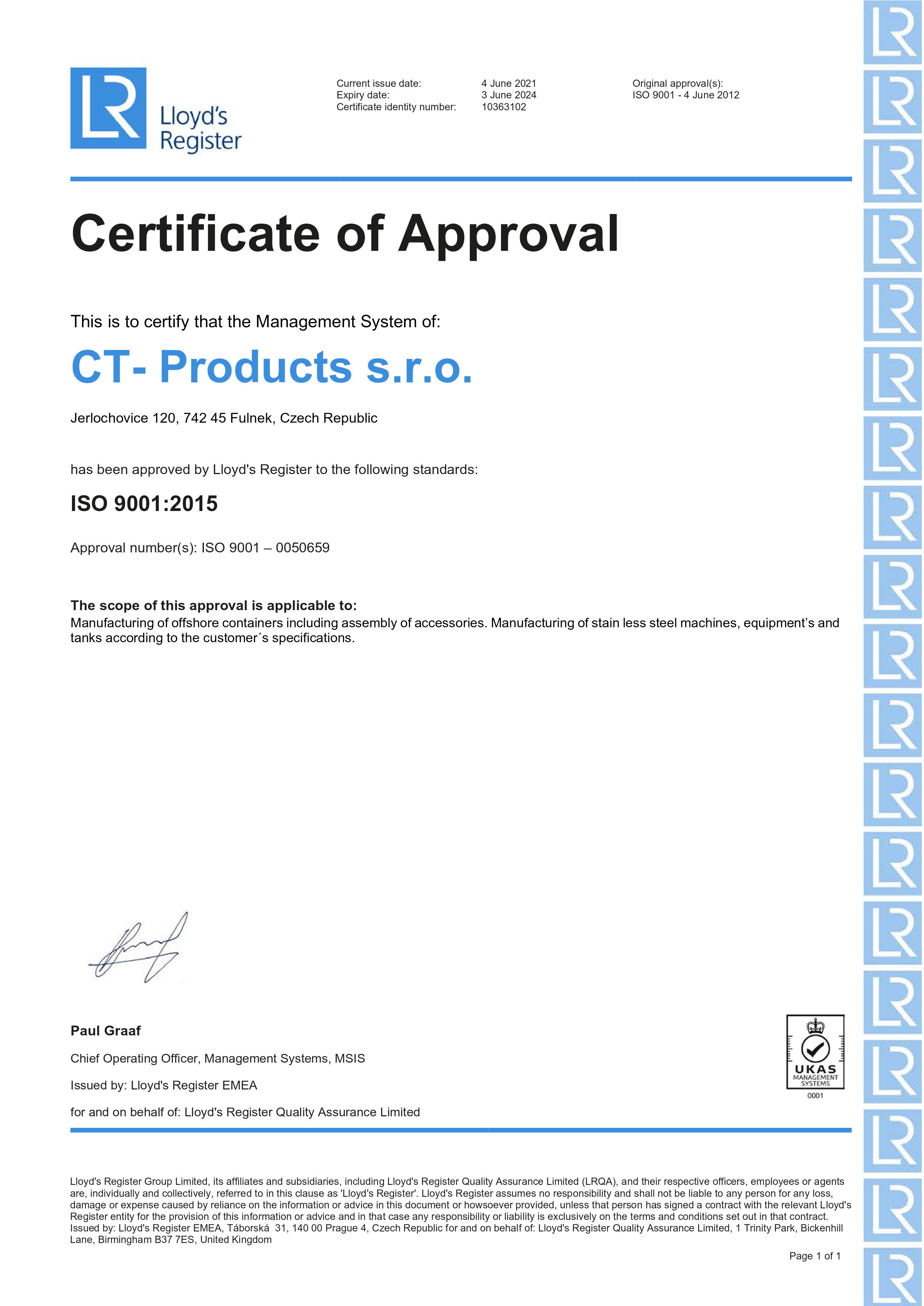 Certificate of Approval